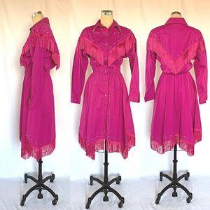 Vintage 80s Fringe Western Dress Line Dancing Pink